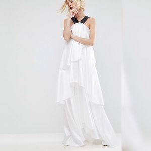 White layered frill maxi dress with strap detail